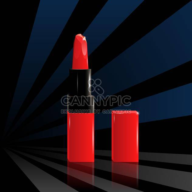 Vector illustration of red lipstick on black background. - Free vector #129658