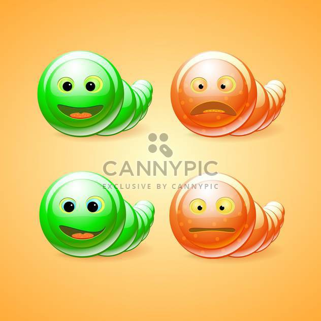 Vector set of green and orange funny worms on orange background - Free vector #129688