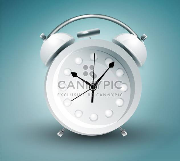 Vector illustration of metal alarm clock on blue background - Free vector #129718