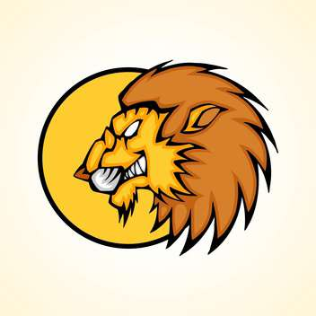Vector illustration of lion head inside circle on yellow background - Free vector #129728