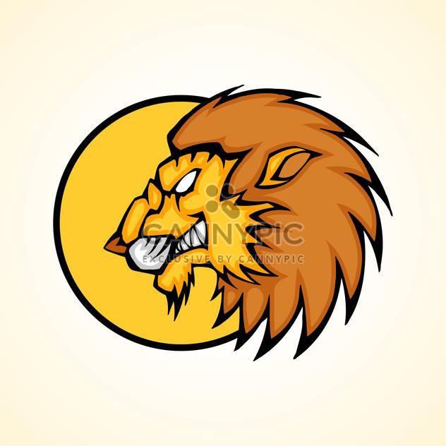 Vektor-Illustration der Löwenkopf im inneren Kreis auf gelbem Grund - Kostenloses vector #129728