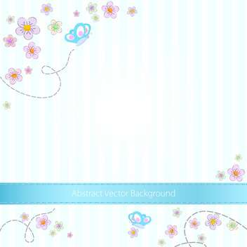Vector blue striped background with butterflies and flowers - vector gratuit #129738