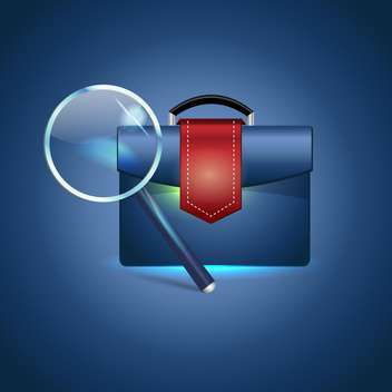 Vector illustration of briefcase and magnifying glass on blue background - Free vector #129748