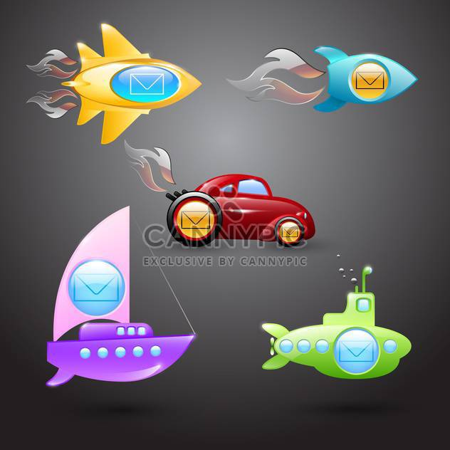 Vector set of mail icons in form of transports on gray background - Free vector #129778
