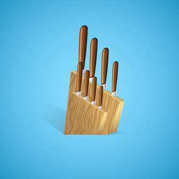 vector illustration of knives set for kitchen on blue background - vector #129788 gratis