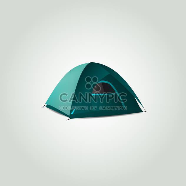 Vector illustration of green tent on light background - Free vector #129818