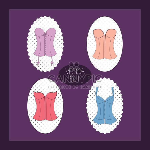 Vintage purple vector background with female corsets set - Free vector #129828