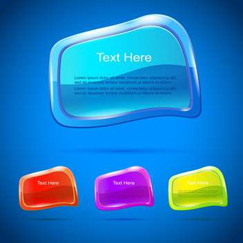Vector set of colorful banners on blue background - Free vector #129938