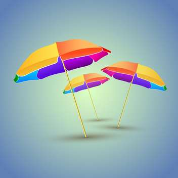 Vector illustration of three colorful beach umbrellas with shadows - vector gratuit #129948