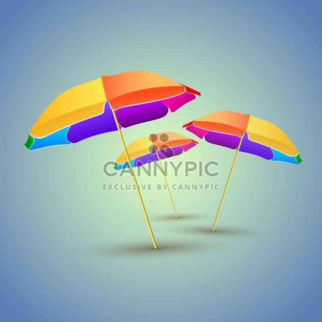Vector illustration of three colorful beach umbrellas with shadows - Free vector #129948