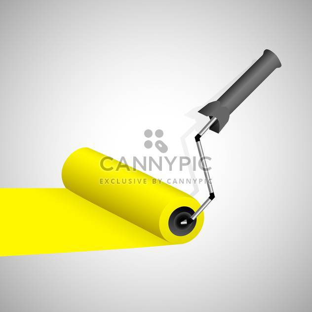 Paint roller with yellow trace on grey background - Free vector #129958