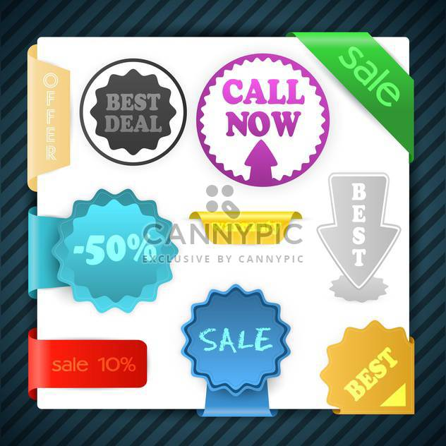 Set of vector sale signs, labels, badges, stickers - Free vector #129978