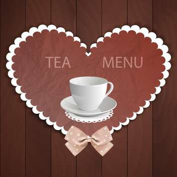 Background in heart shaped with white cup of tea and bow - vector gratuit #130008