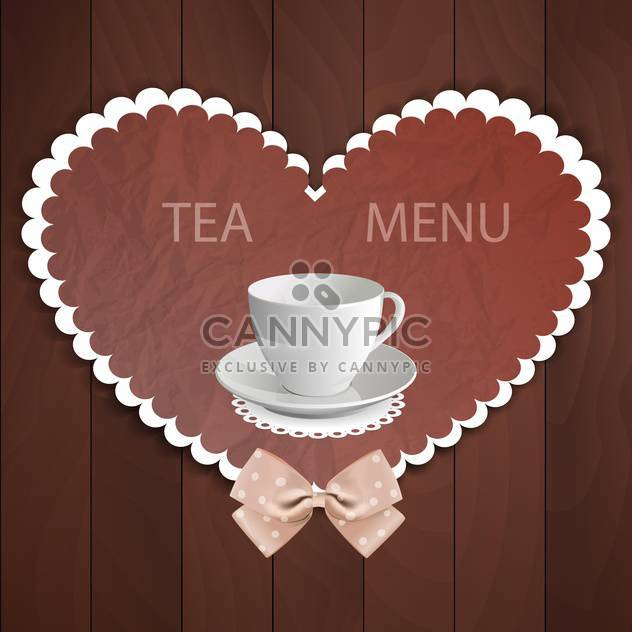Background in heart shaped with white cup of tea and bow - Free vector #130008