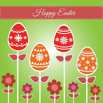 Easter greeting card with eggs and flowers - бесплатный vector #130058