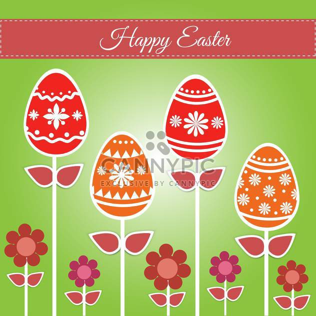 Easter greeting card with eggs and flowers - Free vector #130058