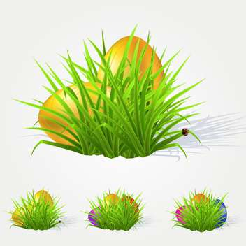Vector illustration of painted Easter eggs lying in the grass - бесплатный vector #130118