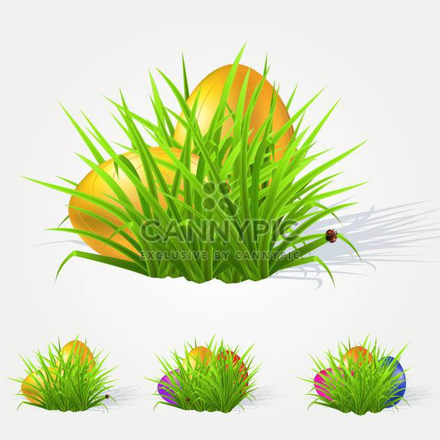 Vector illustration of painted Easter eggs lying in the grass - Free vector #130118