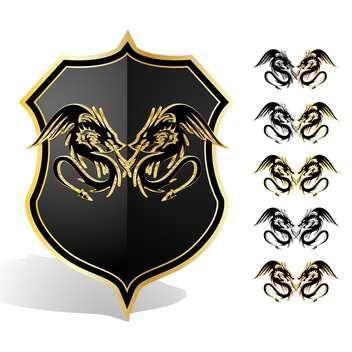 Vector illustration of heraldic dragon shield - бесплатный vector #130128