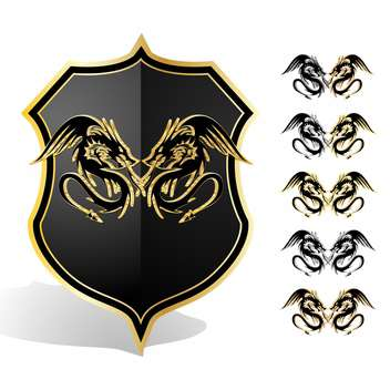 Vector illustration of heraldic dragon shield - Kostenloses vector #130128