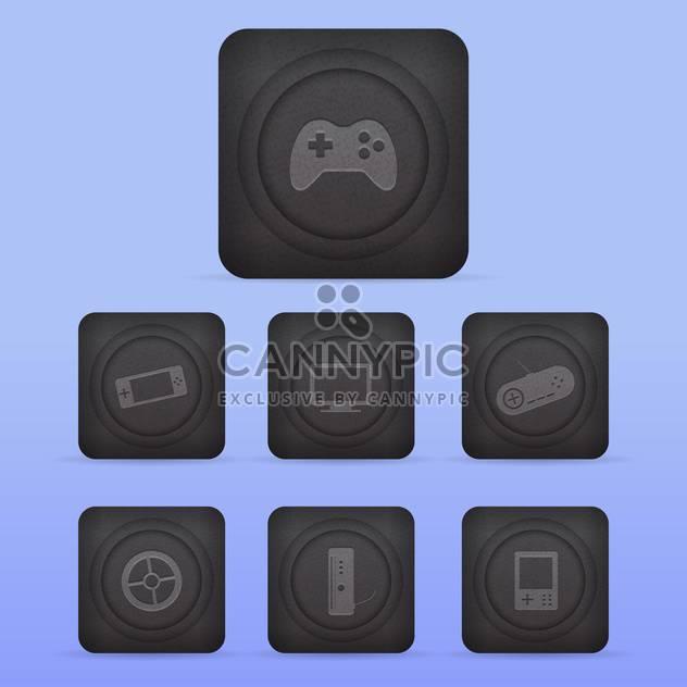 Vektor-Videospiel-Icons set auf blauem Hintergrund - Kostenloses vector #130148