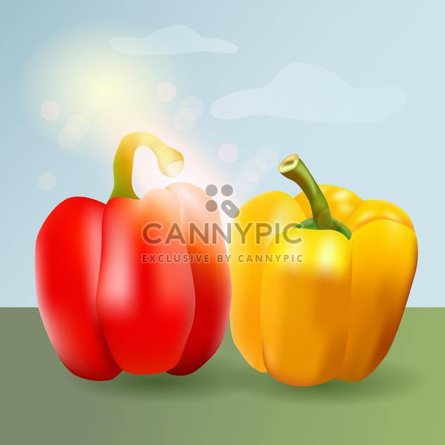 Vector illustration of sweet pepper on nature background - Free vector #130178