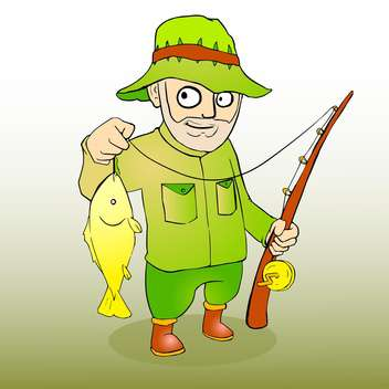 Vector illustration of fisherman with rod spinning and fish - Free vector #130188