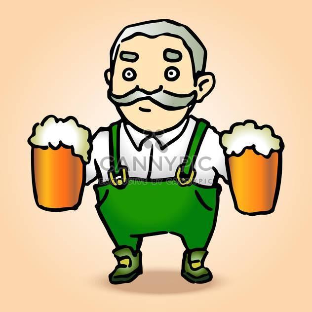 Vector illustration of cartoon Oktoberfest man with beer - Free vector #130198