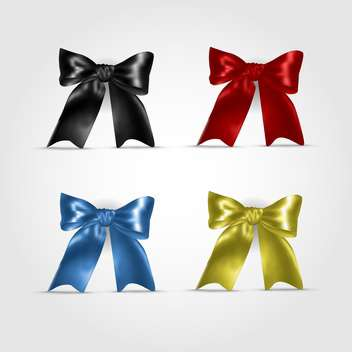 Set with colorful vector bows, isolated on white background - Free vector #130468
