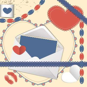 Scrapbook with envelope, and heart shaped greeting vector card - vector #130478 gratis