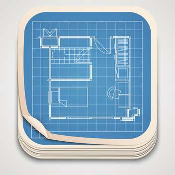 vector blueprint drawing icon - vector gratuit #130518