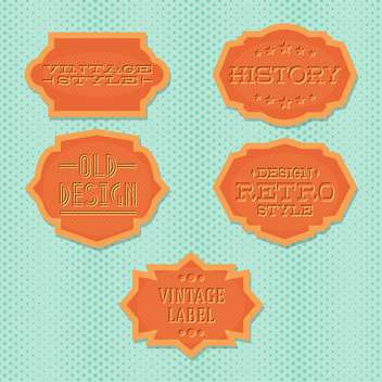 Vector vintage retro orange labels on green doted background - Free vector #130538