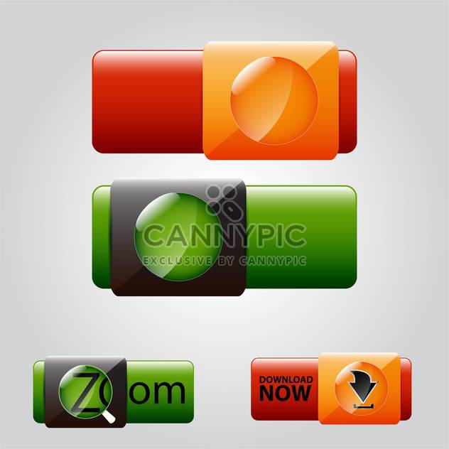 vector illustration of colorful web buttons on grey background - Free vector #130648