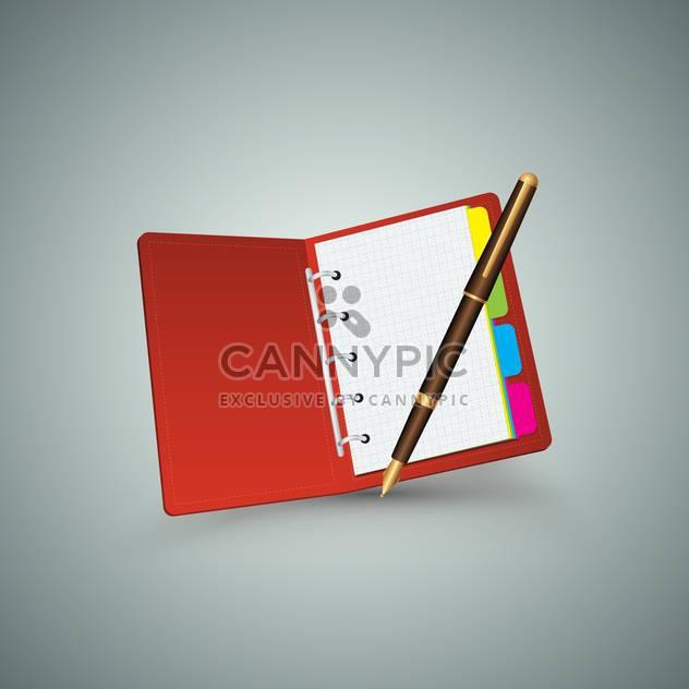 Rote Notizbuch mit Stift auf grauem Hintergrund - Free vector #130698