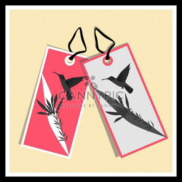 paper tags with birds on beige background - Free vector #130738