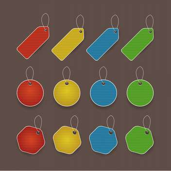 vector illustration of colored promo tags with text place - vector #130758 gratis