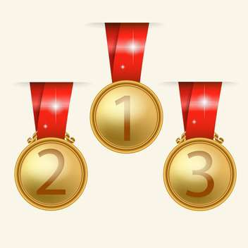 Vector golden medals with red ribbons on beige background - бесплатный vector #130788