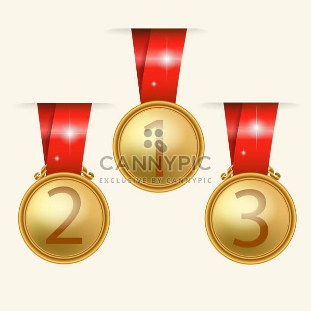 Vector golden medals with red ribbons on beige background - Free vector #130788