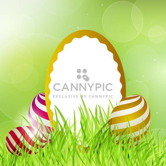 Easter frame with eggs on grass vector illustration - Free vector #130898