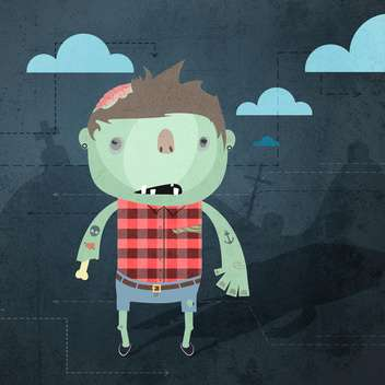 Vector grunge background with zombie - vector gratuit #130908