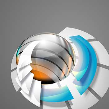 Abstract 3d circle bend lines on grey background - vector gratuit #130938