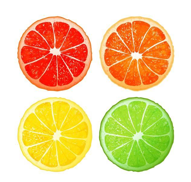 Citrus fruits set on white background - vector gratuit(e) #130948