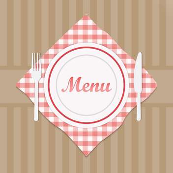 Restaurant sign menu with fork and knife - Free vector #130958
