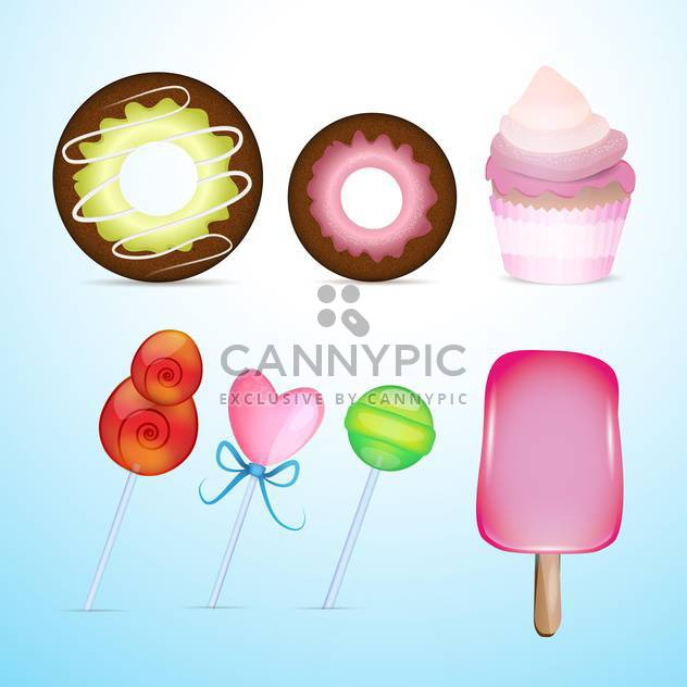 Vector different cute candies on blue background - Free vector #131108