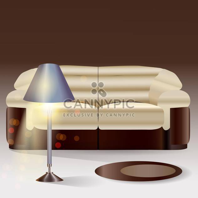 Vector sofa with lamp in modern home interior - Free vector #131128