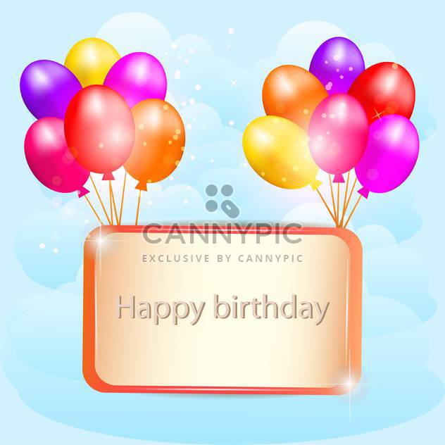 Illustration for happy birthday card with balloons - Free vector #131138