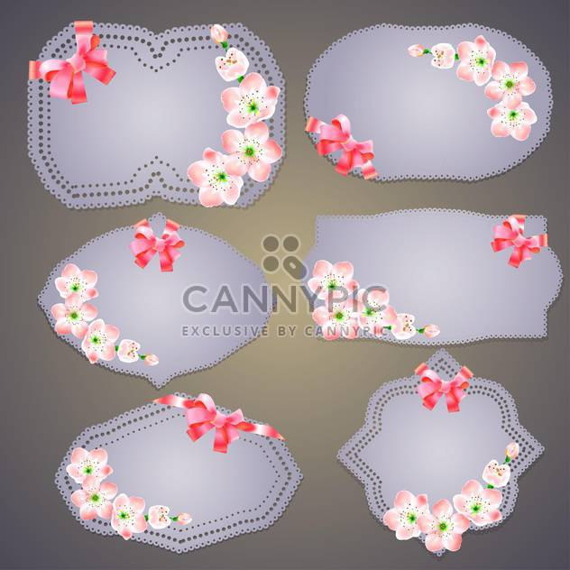 Collection of floral retro grunge labels, banners and emblems - Free vector #131338