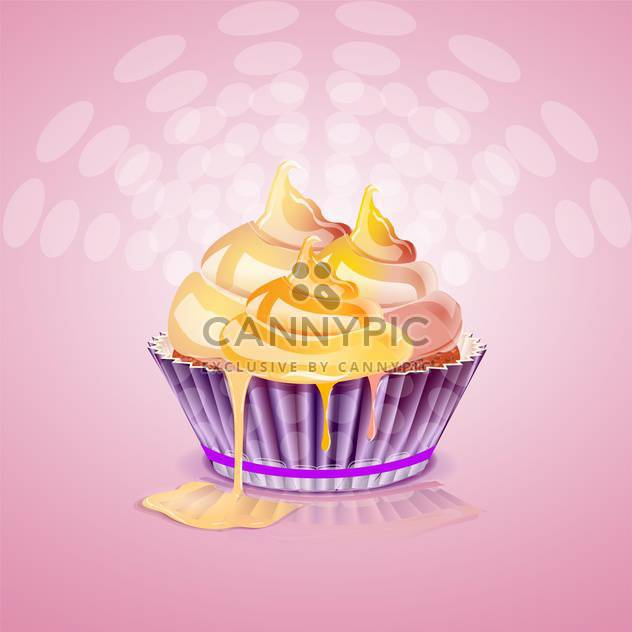Cute and tasty birthday cake illustration - Free vector #131498