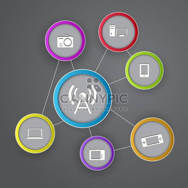 Vector communication icons on grey backrgound - Free vector #131548