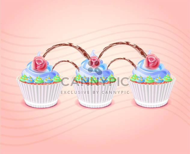 Birthday cakes illustration on pink background - Free vector #131558